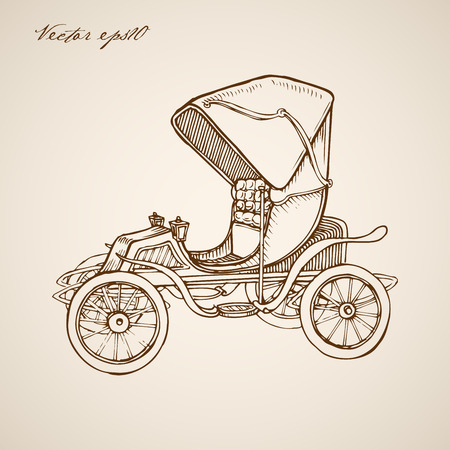 tarpaulin: Engraving vintage hand drawn carriage doodle collage.