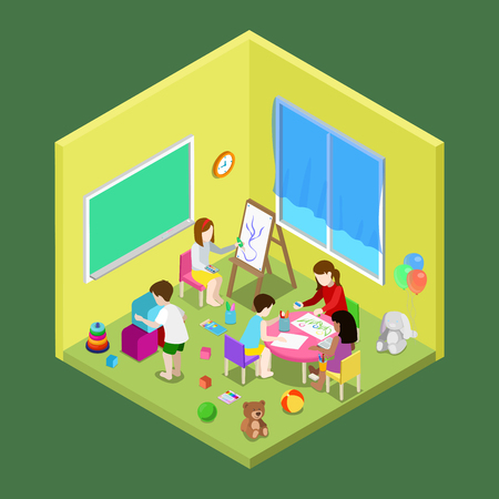 playschool: Flat isometric Teacher and children drawing and playing in playschool or day care center illustration.