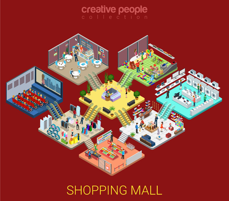 Flat isometric Shopping mall interior illustration.
