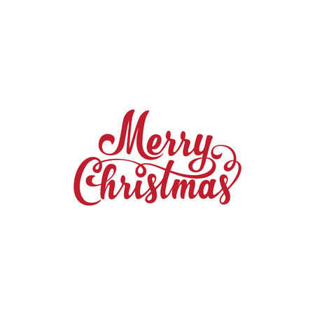 Merry Christmas text Calligraphic Lettering design card template Ilustracja
