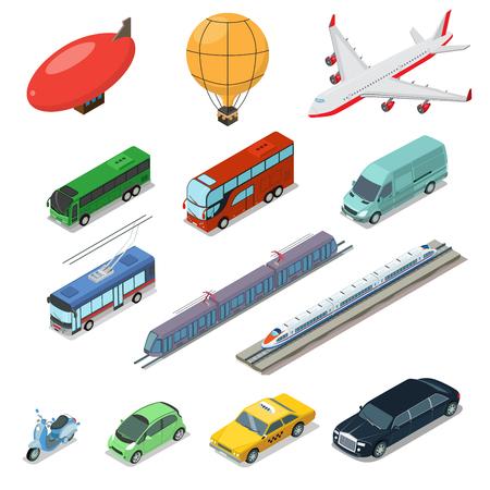 railway transport: Isometric flat vehicle, railway, flying, passenger and cargo transport isolated on white background illustration set.