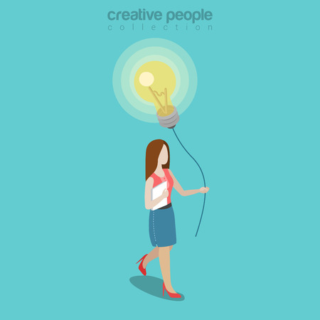 Flat isometric Woman holding thread with balloon made of lamp illustration.