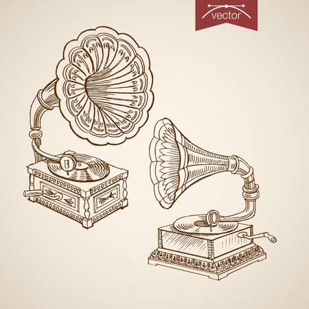 lithograph: Engraving vintage hand drawn gramophone doodle collage.