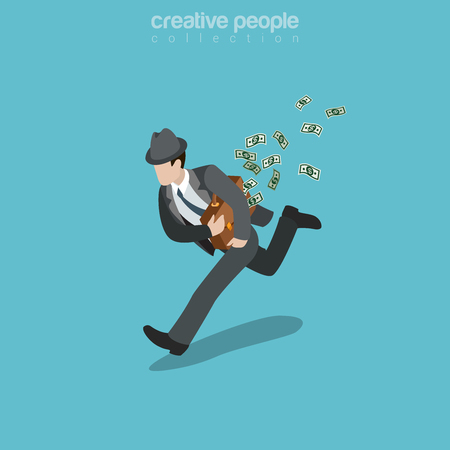 Flat isometric sharper businessman running away with briefcase full of money banknotes illustration.