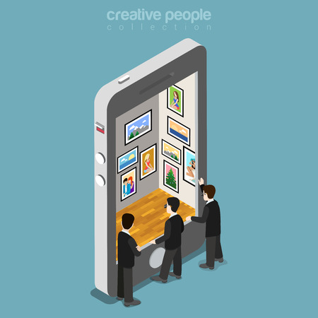 Agents spéciaux isométrique plat espionnage galerie de photos dans l'illustration du smartphone.