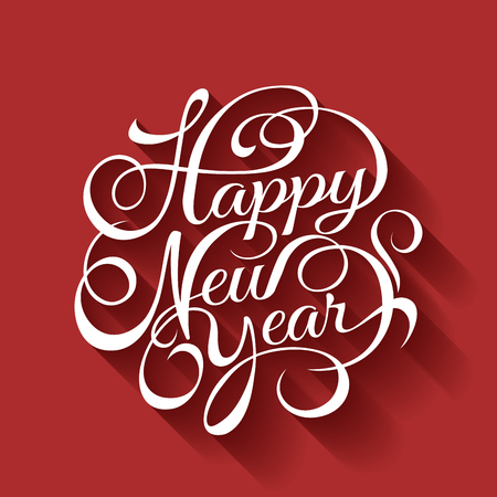text year: Happy New Year text Calligraphic Lettering design card template.