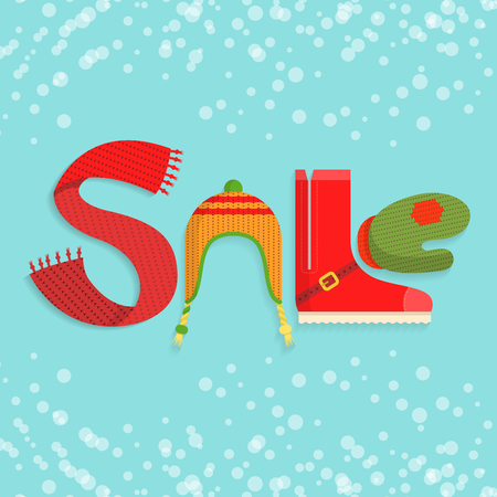 Flat SALE word made of clothes and accessories in Christmas colors on blue snowy background illustration.