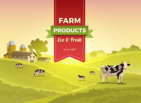 storage data product: Flat cow on field and countryside buildings infographic template illustration. Natural eco and fresh farm products concept.