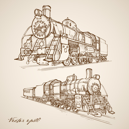 railway: Engraving vintage hand drawn Passenger and cargo train with carriage doodle collage. Pencil Sketch Railway transport illustration.