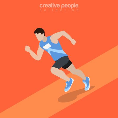individual sports: Flat isometric Athlete running illustration. Individual sports 3d isometry concept.