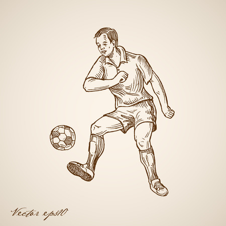 Engraving vintage hand drawn Football (Soccer) Offensive Forward Player doodle collage.