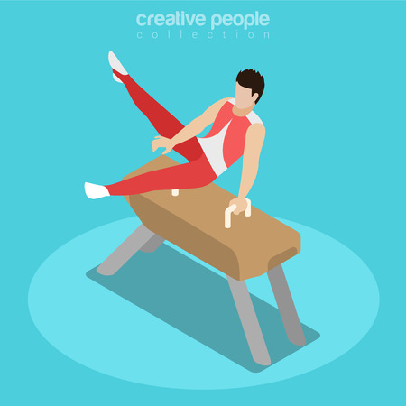 pommel: Flat isometric Gymnast on Pommel Horse illustration.