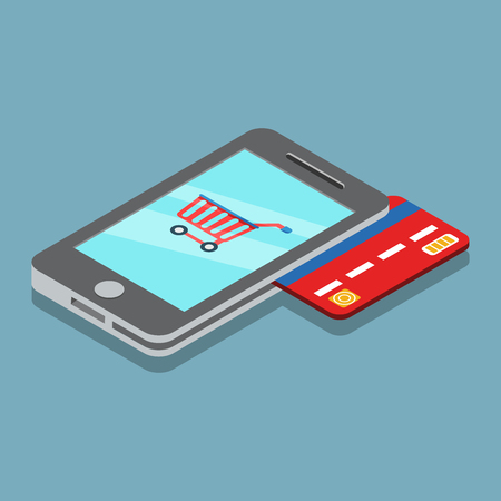 using phone: Flat isometric shopping cart on Smartphone screen, payments from credit card using phone illustration. Illustration