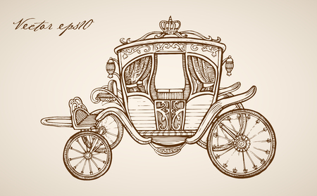 Engraving vintage hand drawn carriage doodle collage.