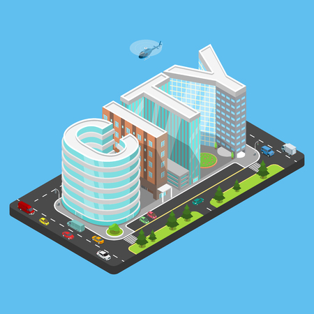 Flat isometric CITY word silhouette made as building complex with transport and parking illustration. Vectores
