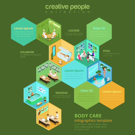 interior cell: Flat isometric Spa saloon interior illustration. Cell infographics template. Illustration