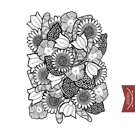 floristic: Engraving vintage hand drawn floral elements doodle collage. Pencil Sketch floristic shop illustration.