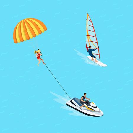 Flat windsurfer femme isométrique et parasailing sportif illustration. 3d isométrique eau de sports extrêmes et de l'activité concept.
