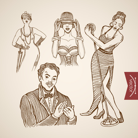 applauding: Engraving vintage sexy dressed show girls and singer, man in suit applauding hand drawn doodle collage. Pencil Sketch retro fashion illustration.