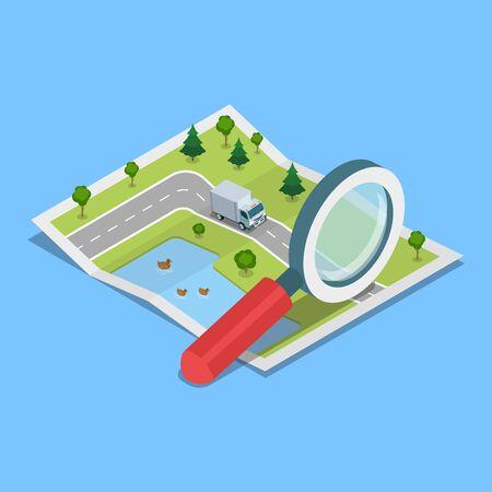 フラット等尺性ヴァン紙の地図、巨大な拡大鏡の図に移動します。3 d アイソ メトリック図法は負荷、輸送、配達コンセプトをトレース。