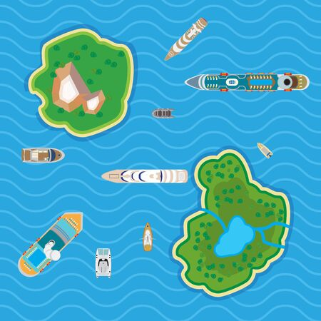 Flat Top view yachts and boats in blue water among islands illustration. Marine nautical transport concept. Illustration
