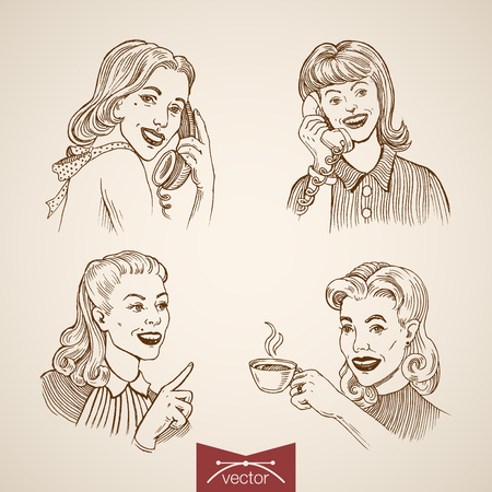 hot woman: Engraving vintage woman calling, drinking hot coffee, cute ladies portraits hand drawn doodle collage. Pencil Sketch retro fashion illustration. Illustration