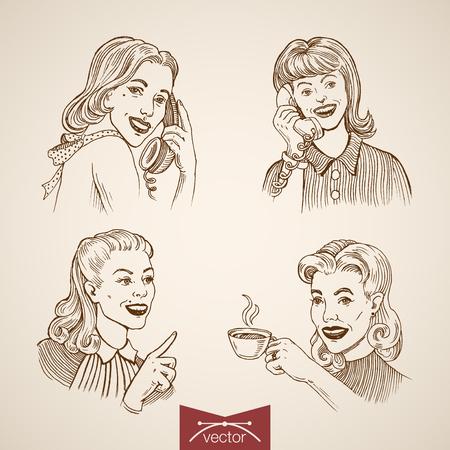 Gravure vintage vrouw bellen, drinken warme koffie, schattige dames portretten hand getrokken doodle collage. Retro de manierillustratie van de potloodschets.