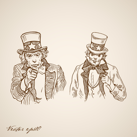 uncle sam: Engraving vintage hand drawn Uncle Sam doodle collage. Pencil Sketch liberty and independence of United States of America concept.