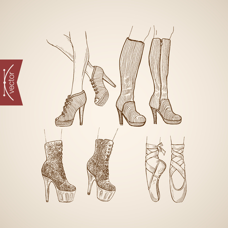 Grabado dibujado mano Vintage botas de tacón alto y zapatos de ballet del doodle de collage. Bosquejo del lápiz de la ilustración de moda retro.