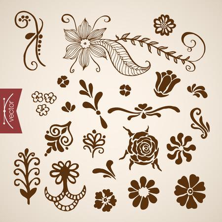 crosshatch: Engraving vintage hand drawn floral elements doodle collage. Pencil Sketch florist shop illustration.