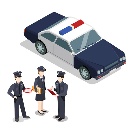 law report: Flat isometric city policemen and woman writing report near police car illustration. 3d isometry municipal profession, law and order concept. Illustration