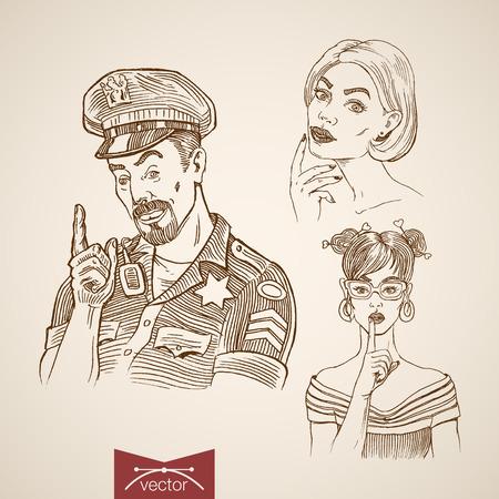 prostituta: Grabado dibujado mano Vintage prostituta y collage doodle de policía. Bosquejo del lápiz de la ley y el concepto de orden.