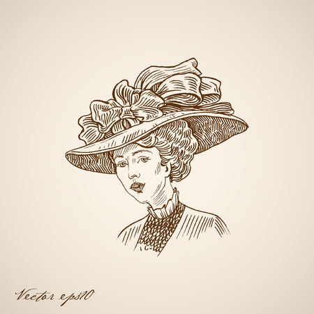 neckband: Engraving vintage fashion retro lady in hat with bow and wide brim hand drawn doodle collage. Pencil Sketch woman portrait illustration. Illustration