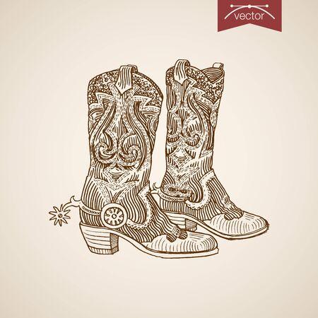 Engraving vintage hand drawn cowboy boots doodle collage. Sketch retro fashion illustration.
