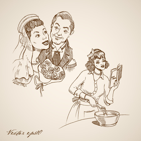 femme dessin: Gravure mariée dessiné à la main vintage et marié, collage femme au foyer doodle. Dessin au crayon heureux illustration vie familiale.