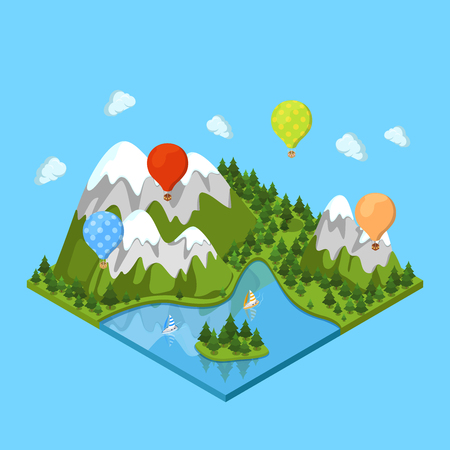 Flat isometric beautiful nature landscape, balloons in sky and sail in water illustration. 3d isometry extreme vacation and sport concept.