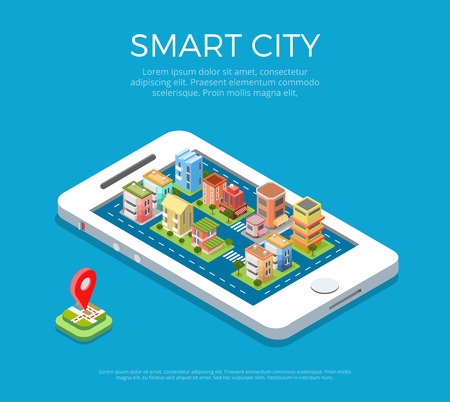 Flat isometric buildings on smartphone screen, Smart city app infographics template illustration. 3d isometry Mobile application concept.