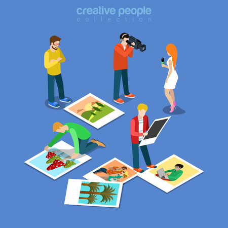 Flat isometric TV reporter and Cameraman with video camera, female journalist with microphone, editors choosing pics for reportage illustration. 3d isometry Mass media workers concept.