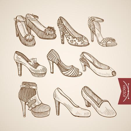webbing: Engraving vintage hand drawn sandals shoes on heels doodle collage. Pencil Sketch retro fashion illustration. Illustration