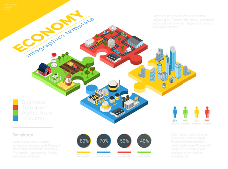 Flat isometric modern city and countryside buildings, industry and transport connection illustration. Puzzle infographics template. 3d isometry Economy concept. Ilustração