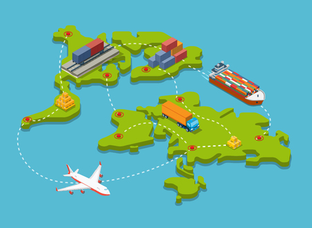 Flat isometric Train carriage, Trucks, Plane, Barge with cargo; transport connection and destination points on world map illustration. 3d isometry Transportation, Shipping, Delivery concept. Vettoriali