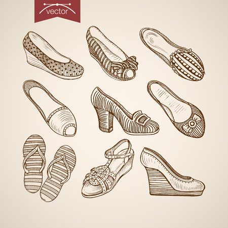 webbing: Engraving vintage hand drawn sandals, thongs and shoes on tankette and heels doodle collage. Pencil Sketch retro fashion illustration.