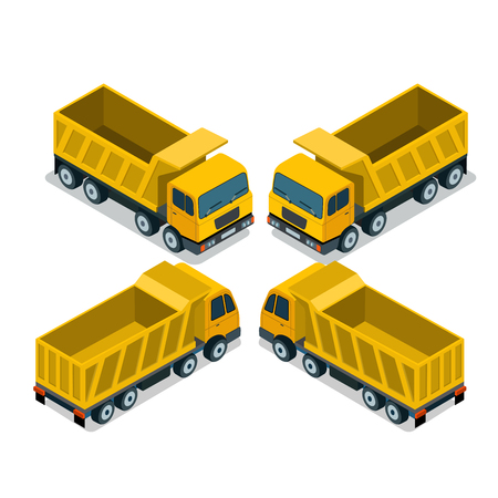 front view: Flat isometric empty Tipper isolated on white background illustration set. 3d isometry Cargo Delivery service and Transportation concept.