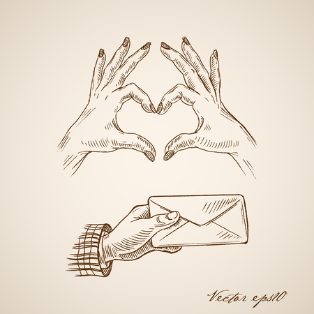female hands: Engraving vintage hand drawn female hands making heart symbol, male hand holding paper envelope doodle collage. Pencil Sketch Signs and symbols illustration.