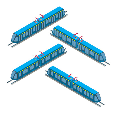 railway transport: Flat isometric modern city Tram on railway isolated on white background illustration set. 3d isometry Delivery service and Passenger Transport concept.