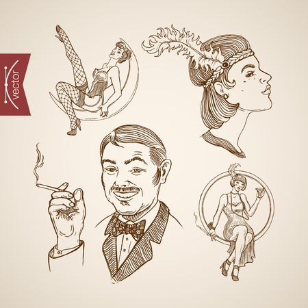 Engraving vintage dressed show girls and ladies, man in suit smoking hand drawn doodle collage. Pencil Sketch retro fashion illustration.