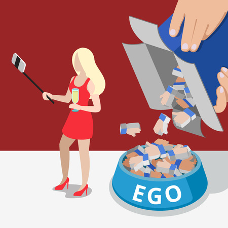 Flat micro woman making selfie with monopod, man filling dog bowl with Like signs from box illustration. Network and social promotion business concept.