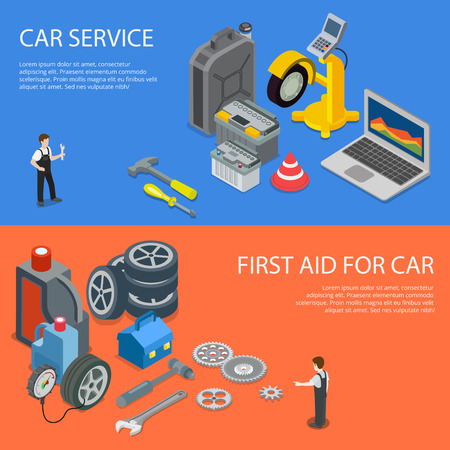 Flat isometric workers and equipment for First car aid vector illustration. 3d isometry Automobile service concept. Laptop and diagnostic computer, tools and spare parts, battery and jerrycan image. Illustration