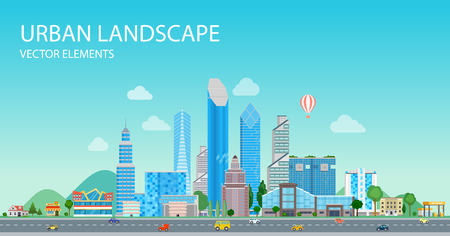 Flat Buildings, skyscrapers, business center, offices and road on sky nature background vector illustration. Modern city, Urban landscape concept.
