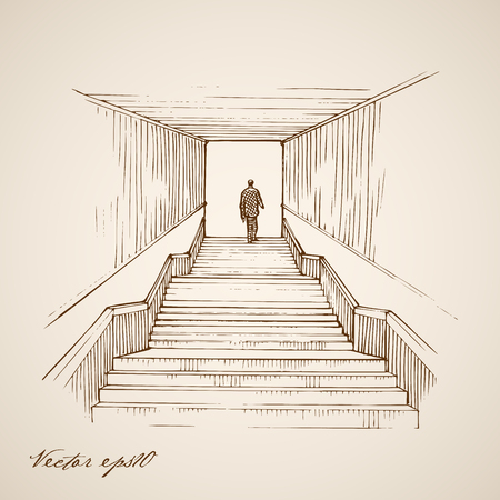set going: Engraving vintage hand drawn vector man going up the stairs doodle collage. Pencil Sketch underground crossing, tunnel illustration.